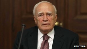 President Karolos Papoulias in Athens on 13 May