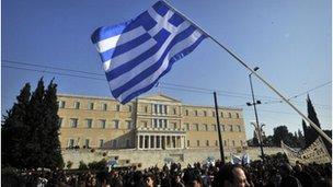 Protestors in Athens