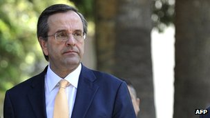 Antonis Samaras in Athens on 13 May
