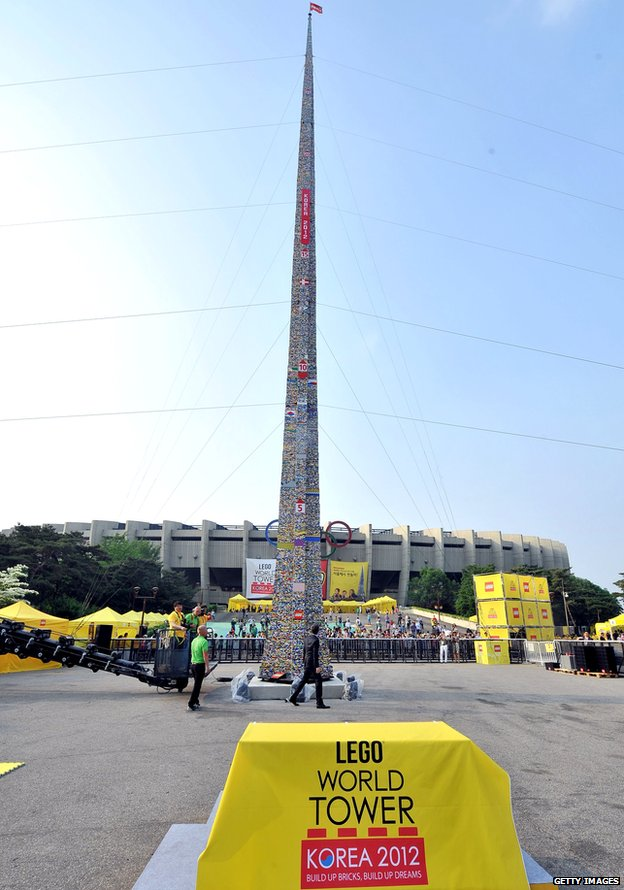 Lego World Tower on display outside South Korea Olympic stadium