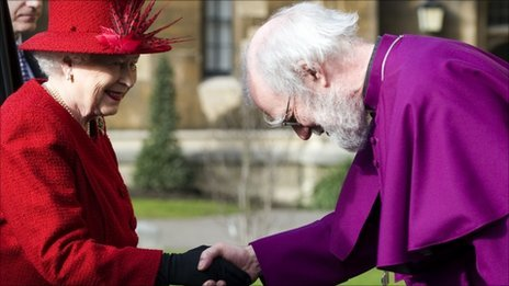 Queen shakes hands with the Archbishop of Canterbury