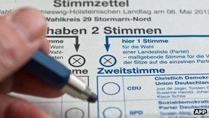 Ballot paper in Schleswig-Holstein