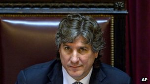Vice-President Amado Boudou at a debate on 25 April 2012