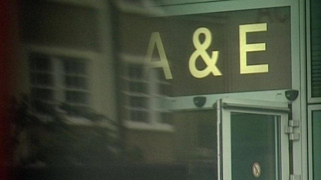A&E sign above entrance to University College Hospital, London