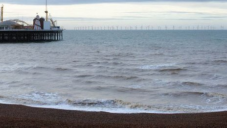 Computer image of wind farm off Brighton