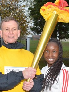 Dave Heeley with future Olympic hopeful Ann Ika-Oqua from Sandwell Girls Athletics Squad