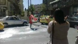 'Red woman' protest in Damascus