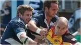 Bristol players fail to stop Cornish Pirates scoring a try