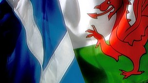 Scottish and Welsh flags