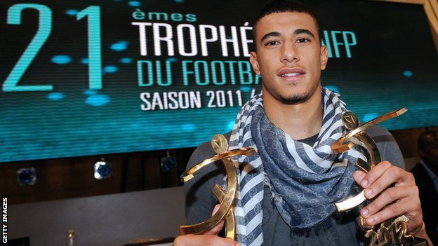 Morocco and Montpellier's Younes Belhanda with his French league Young Player of the Year award