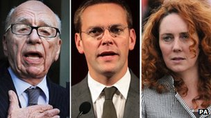 L - R, Rupert Murdoch, James Murdoch, Rebekah Brooks