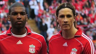 Ryan Babel (left) and Fernando Torres in their time at Liverpool