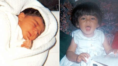 Two images of Suman Bansal, one taken in 1996 (left), the other from 1997 (right)
