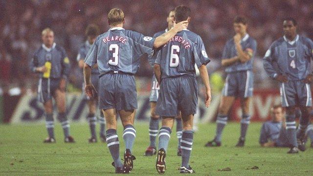 Stuart Pearce consoles Gareth Southgate