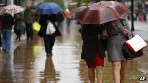 Shoppers out in wet weather