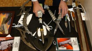Some of the weapons seized in passengers' bags