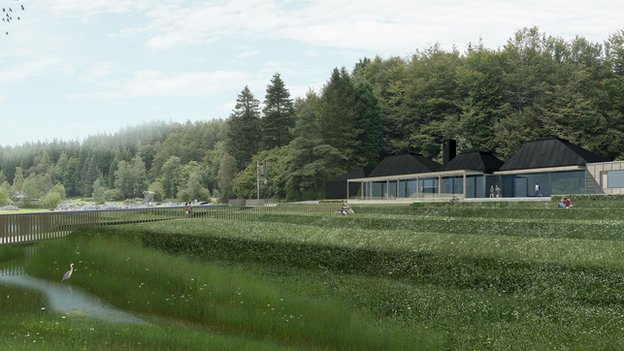 Artist's impression of new tourism facilities at Galloway Forest Park