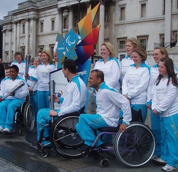 Paralympic Torchbearers posed for photos for the media