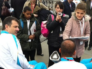 School Reporters interviewing Paralympic Torchbearers