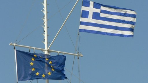 Greek and EU flag