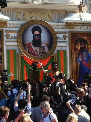 Sacha Baron Cohen in costume as The Dictator in Cannes