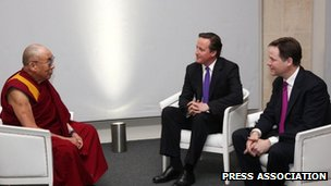 Dalai Lama meets David Cameron and Nick Clegg