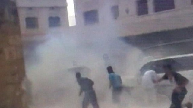 Still from video purported to show the scene of the blast in Syria