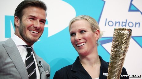 David Beckham with Zara Phillips