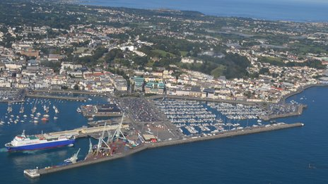 St Peter Port Harbour seen from the air