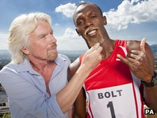 Sir Richard Branson and  Olympic champion Usain Bolt 