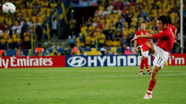 Joe Cole scores a stunning volley against Sweden