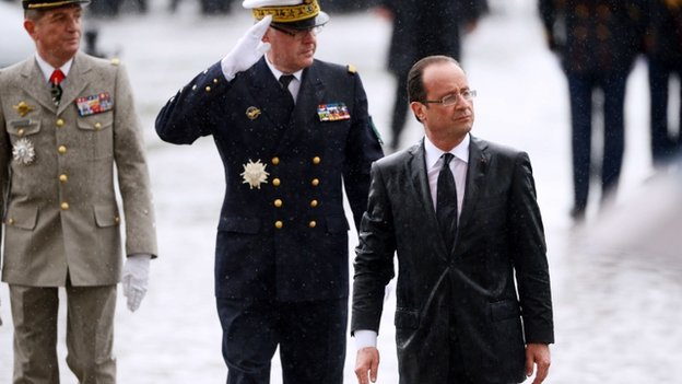 Francois Hollande at the Arc de Triomphe