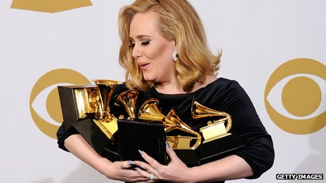 Adele backstage at the 2012 Grammys