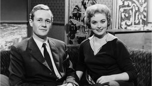 Blue Peter's first presenters Christopher Trace and Leila Williams in 1958