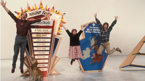 Blue Peter presenters Simon Groom, Janet Ellis and Peter Duncan