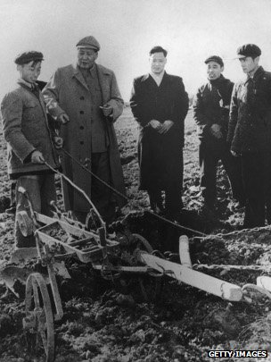Chinese Communist Party Chairman Mao Zedong visiting farm workers in Zhejiang, China, 9 Feb 1958