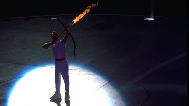 Paralympic archer Antonio Rebollo opens 1992 Barcelona Olympics