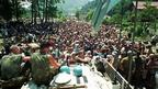 UN troops with refugees near Srebrenica in 1995