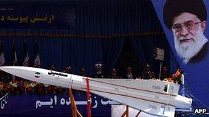 An Iranian military truck carries a Sejil rocket in Tehran in April, 2012