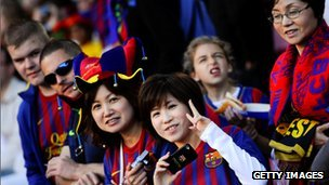 Fans at a Barcelona v Malaga match at the Nou Camp in May