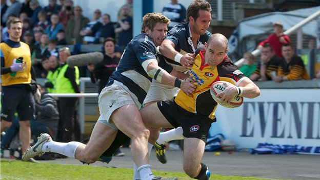 Cornish Pirates in action against Bristol