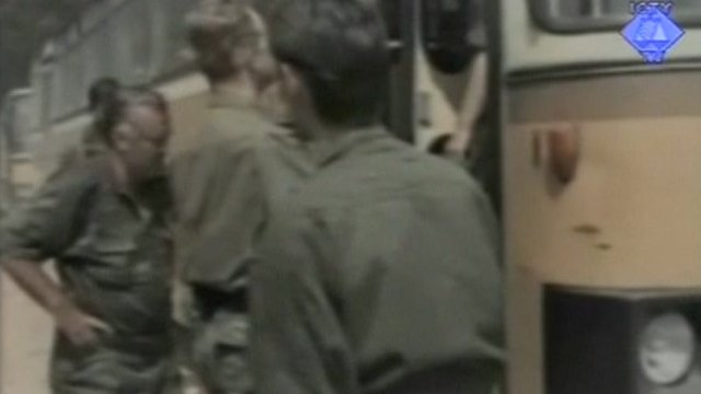 Gen Mladic enters bus