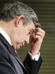 Gordon Brown scratching his head in 2008