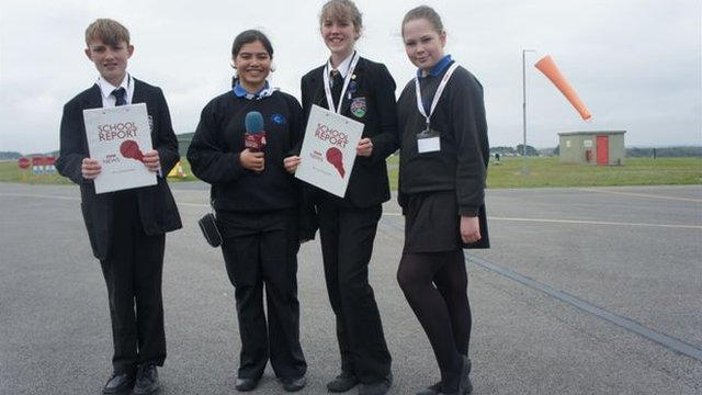 School Reporters from Cornwall visit the airbase that will welcome the Olympic torch