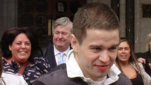 Sam Hallam walking from court on Wednesday