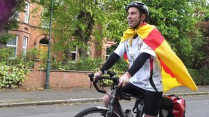 Ulster fan on bike to London