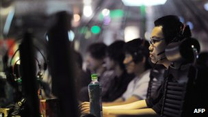 Consumers at an internet cafe in China