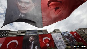 Halaskargazi street is decorated with huge Turkish flags and portraits of Mustafa Kemal Ataturk, ahead of Youth and Sports Day in central Istanbul May 16, 2012