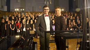 Gary Barlow with Gareth Malone (l) and the Military Wives choir