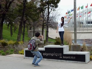 People at Montreal Olympic site
